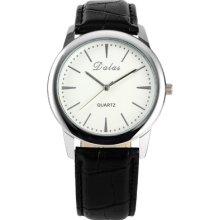 Lady Women Girl Elegant White Dial Black Leather Bracelet Quartz Sport Watch Gbh