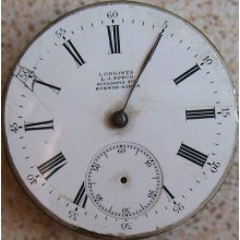 Longines Pocket Watch Movement And Enamel Dial 43 Mm. In Diameter