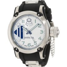 Mens Invicta 0364 Russian Diver Gmt Silver Dial Black Polyurethane Watch
