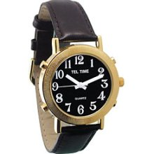 Mens Tel Time Gold Colored Talking Watch with Black Dial Leather Band