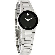 Movado Safiro Ladies Black Dial Stainless Steel Swiss Quartz Dress Watch 0605806