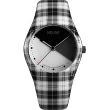 Noon Copenhagen Womens Plaid Kolors Plastic Watch - Black Rubber Strap - White Dial - 01-036