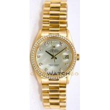 Rolex Mens 18K Yellow Gold President Day Date Model 18238 Custom Added MOP Diamond Dial & Diamond Bezel