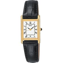 Seiko Ladies Black Leather White Rectangular Dial Watch