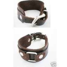 Silver Alloy Cuff Brown Mens Leather Bracelet Wristband
