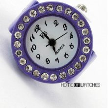Special Gift Round Dial Crystal Decor Elastic Purple Finger Ring Watch Quartz