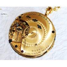 Steampunk Necklace - EXCEPTIONALLY RARE Waltham ROYAL Grade Gold Gilt Antique Pocket Watch Movement Men Steampunk Necklace - Wedding Gift