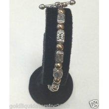Sterling Silver & 14k Solid Yellow Gold Beaded Bracelet By Zanfeld