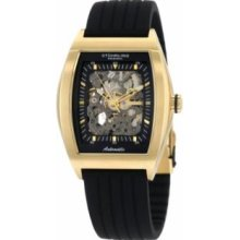 Stuhrling Original 182.33361 Mens Millennia Automatic Stainless Steel Case with Black Skeleton Dial and Yellow Gold Plated on Black Rubber Strap