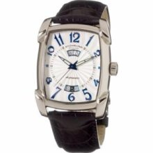 Stuhrling Original 98.331516 Mens Classic Madison Avenue Campaign Slim Swiss Quartz with Stainless Steel Case Silver Dial and Black Leather Strap Watch