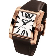TW Steel Men's Rose Gold Tone Stainless Steel Ceo Goliath Quartz White Dial Brown Leather Strap Date Display CE3008