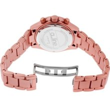 a_line Women's Amore Chronograph Round Watch Case/Dial Color: Pink/Pink, Hands Color: Purple, Markers/Bracelet Color: Purple/Pink