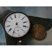 Antique 8 cylinder Pocket Watch Body Case with Movement and porcelain Dial / Altered Art Assemblage Industrial art steampunk supply