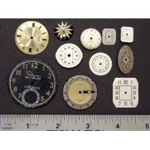 Antique Vintage brass, silver, gold tone round, square wristwatch pocket, watch dials lot of 10, jewelry, Steampunk Art Supplies 1858