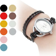 Braided Women's Long Rope Style PU Leather Band Analog Quartz Bracelet Watch (Assorted Colors)