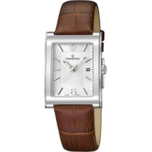 Candino Unisex Quartz Watch With Silver Dial Analogue Display And Brown Leather Strap C4460/7