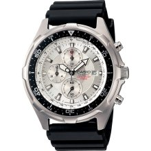 Casio Mens Calendar Date Chronograph Watch w/Round White Dial & Silvertone Link Band