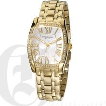 Charles Hubert Premium Gold Tone White Dial Watch with Swarovski Crystal 3760-G