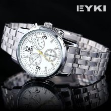 Eyki Mens Luxury White Dial Stainless Steel Analog Quartz Wrist Watch Usts