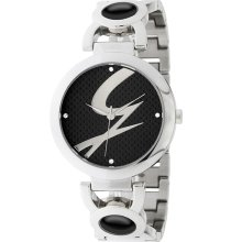 Gattinoni Italy Women's Black Dial Stainless Steel Zircon Watch