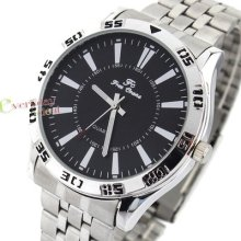 Gentles Analogue Wrist Watch Mens Black Face Stainless Steel Band Quartz