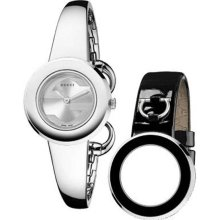 Gucci Ladies Stainless Steel Bangle Style Band Interchangeable Black Leather Strap YA129502