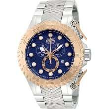 Invicta 12939 Watch Mens Pro Diver Blue Rose Dial Quartz Chronograph Ss Band