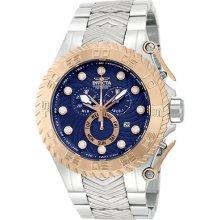 Invicta 12939 Watch Mens Pro Diver Blue Rose Dial Quartz Chronograph Ss Band