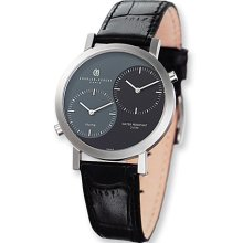 Mens Charles Hubert Leather Band Black Gray Dial Dual Time Watch No. 3549
