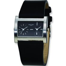 Mens Charles Hubert Leather Band Black 39x26mm Dial Dual Time Watch