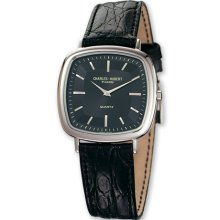 Mens Charles Hubert Leather Band Black Dial Retro Watch