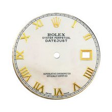 Mens Rolex Datejust Aftermarket White MOP Dial, Yellow Gold Roman