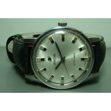 Mens Vintage Enicar Winding Swiss Made Wrist Watch Silver Dial Old Used F269