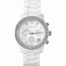 Michael Kors Watch, Women's Chronograph Runway White Ceramic Bracelet Mk5188