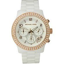 Michael Kors White Ceramic Dial Swarovski Crystal Bezel Ladies Watch Mk5269
