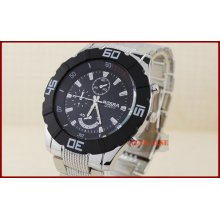 Military Fashion Silver Stainless Steel Black Dial Mens Quartz Wrist Watch