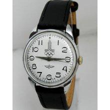 Rare Raketa Symbols On The Dial 1980 Moscow Olympics Soviet Russian Ussr Watch