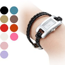Rope Women's Braided Style PU Leather Band Analog Quartz Bracelet Watch (Assorted Colors)