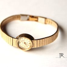 Rose 17 Jewels Swiss Rolled Gold Plate Ladies Watch / Vintage Beautiful Working Gold Womens Watch / Antique Mechanical Wrist Watch