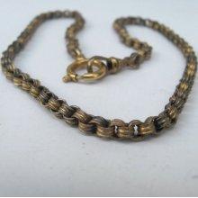 SALE antique Victorian fancy pocket watch chain Necklace 16in choker gold fill plate gilt Parts deco supplies findings destash m17