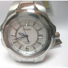 Seiko Quartz Mens Coutura Silver-white Dial All Stainless Steel Watch Sgee65