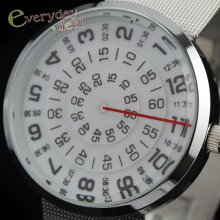 Silvery Steel Wrist Watch Quartz Mens Rotary Dial Digital Display Multi Color