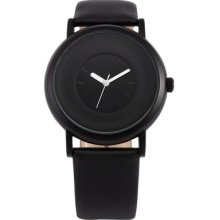 Sinobi Elegant Round Dial Lady Girl Black Leather Sport Quartz Analog Gift Watch