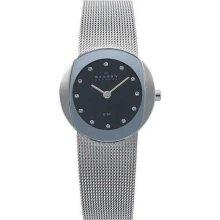 Skagen Black Dial Swarovski Crystal Stainless Steel Ladies Watch