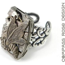 STEAMPUNK Ring - Victorian Bee - MIXED METALS - Clockwork Watch Movement Ring - Silver Filigree