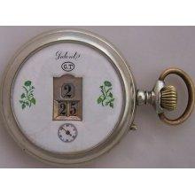 Swiss Digital Jump Hour & Minute Pocket Watch Nickel Chromiun Case 52 Mm. Run