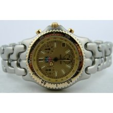 Tag Heuer Sel Link Quartz Chronograph Gold Dial 18kt Gold & Steel S35.406c