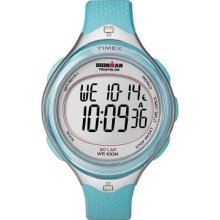 Timex Womens T5k602 Ironman Clear View 30-lap Caribbean Blue Resin Strap Watch W