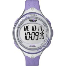 Timex Womens T5k603 Ironman Clear View 30-lap Amethyst/silver-tone Resin Strap W