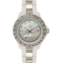 Toywatch heavy metal plasteramic mini silver white watch. 28207-sl